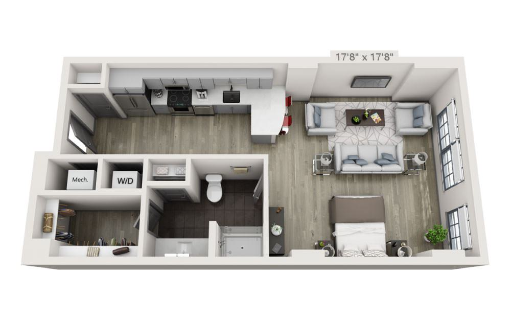 SJ - Studio floorplan layout with 1 bath and 666 square feet.