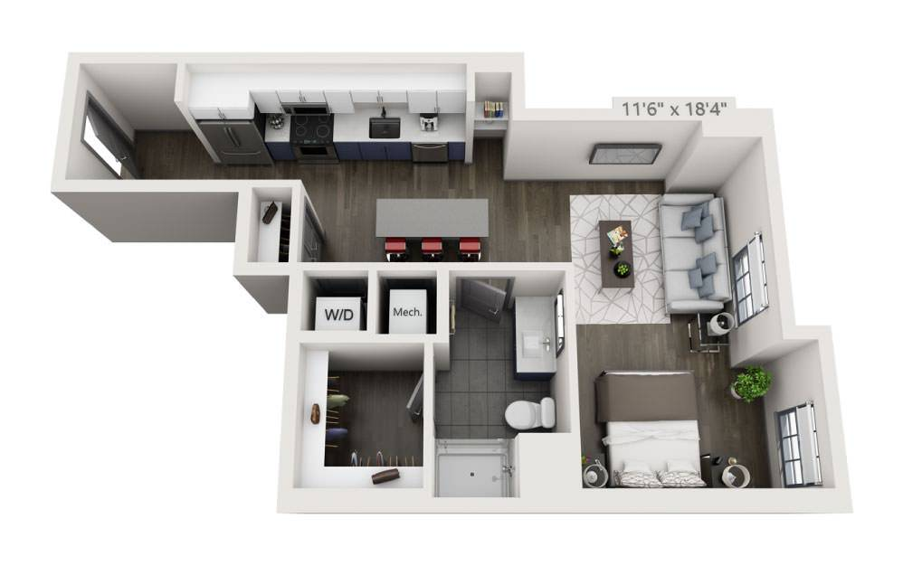 SL - Studio floorplan layout with 1 bath and 596 square feet.