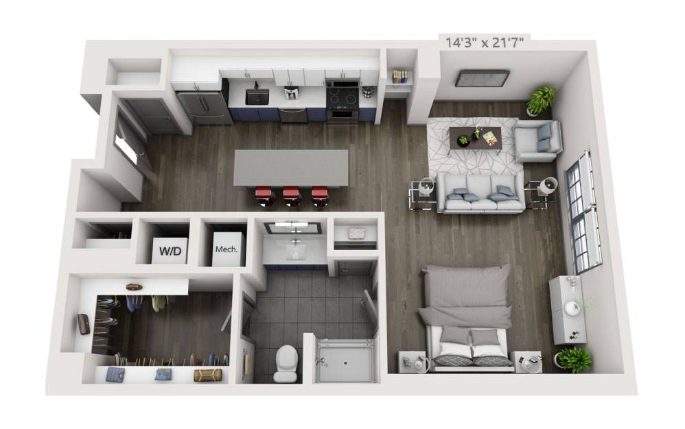 SM - Studio floorplan layout with 1 bath and 791 square feet.