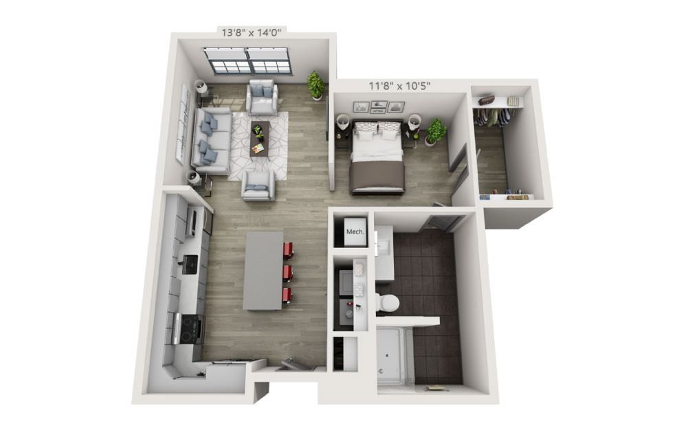 SN - Studio floorplan layout with 1 bath and 748 square feet.