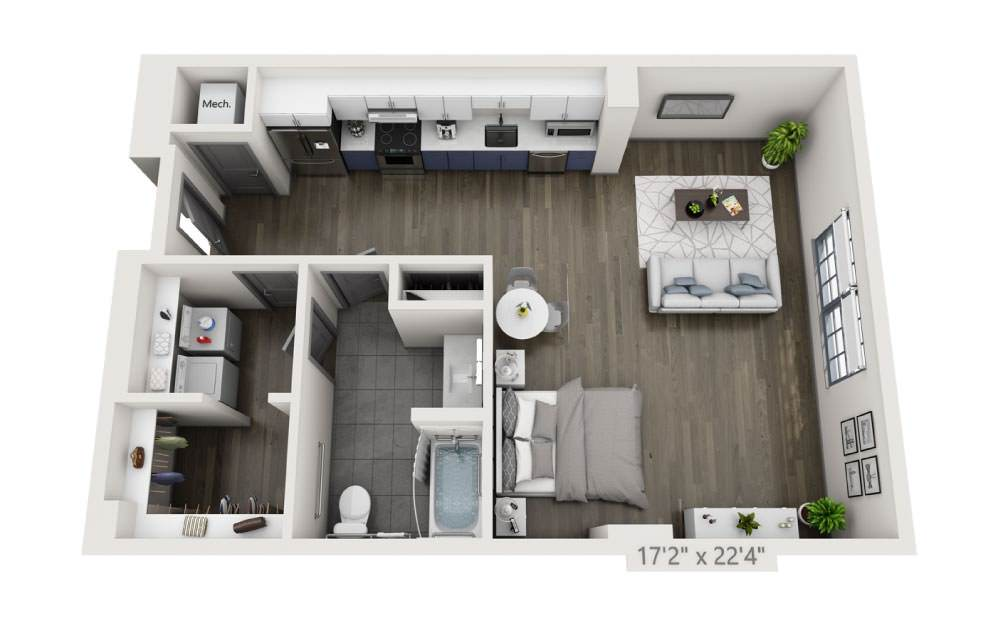 SO - Studio floorplan layout with 1 bath and 791 square feet.