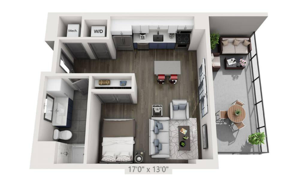 SP with Terrace - Studio floorplan layout with 1 bath and 573 square feet.