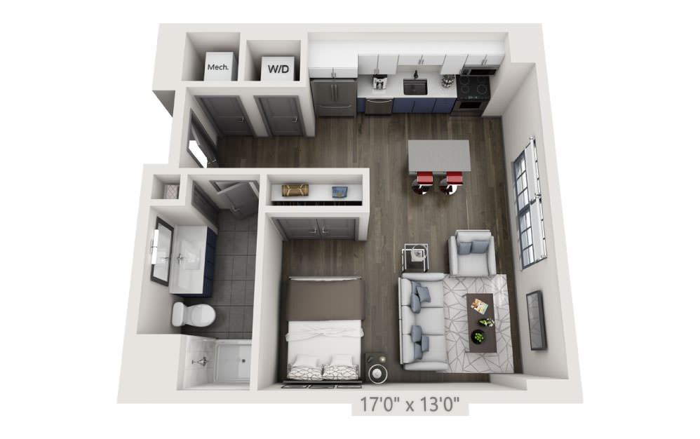 SP - Studio floorplan layout with 1 bath and 573 square feet.